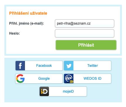 WEDOS zákaznická administrace - přihlášení prostřednictvím jména a hesla, nebo sdíleného účtu