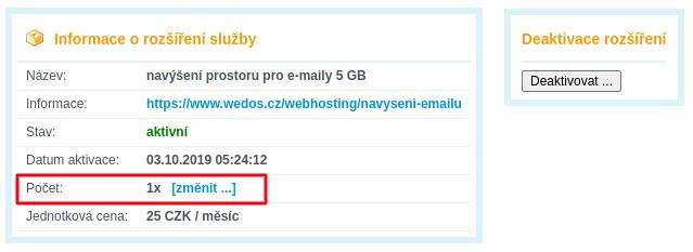 Nastavení počtu navýšení prostoru pro E-maily 5 GB WEDOS